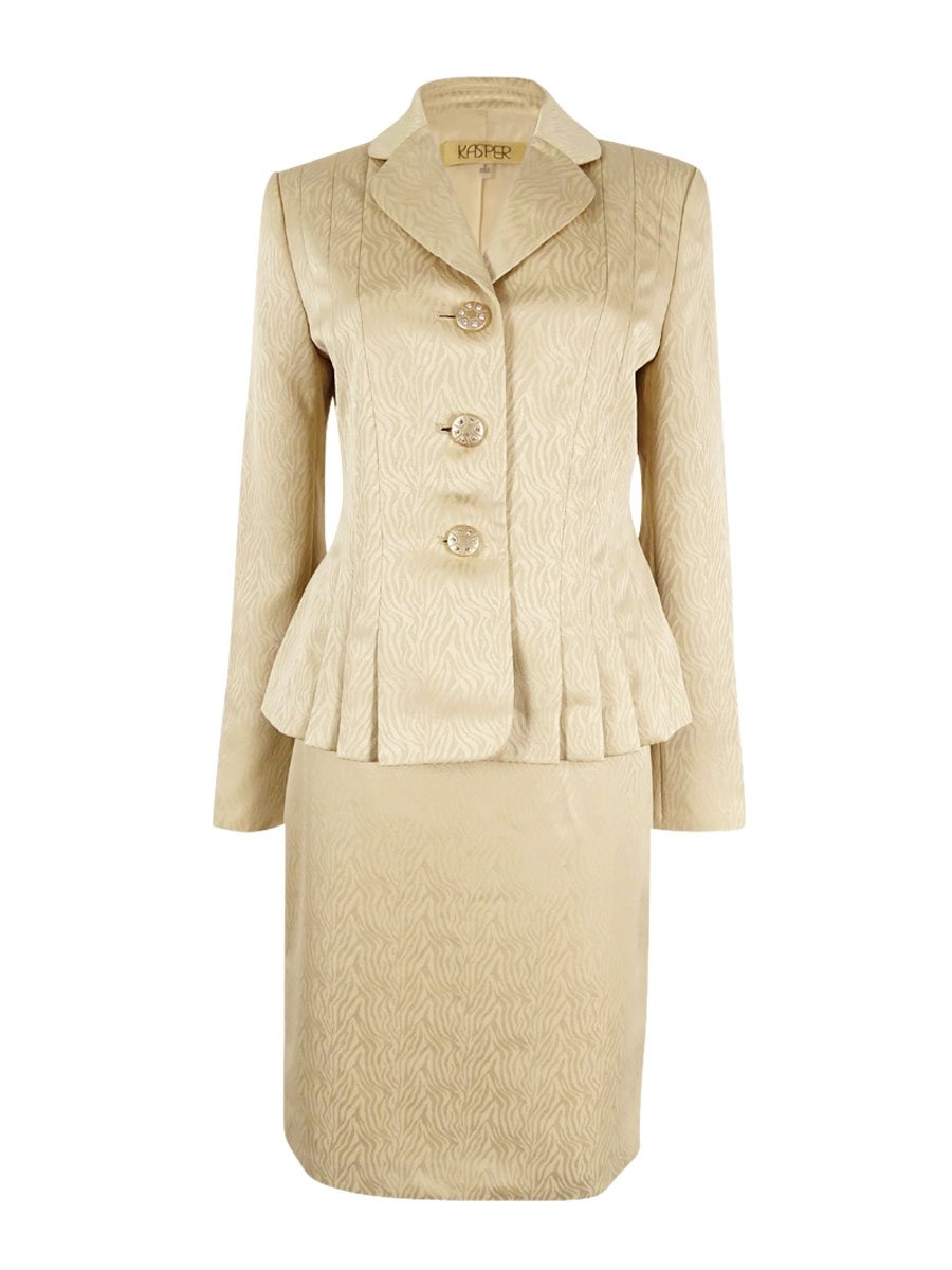 Kasper Women's ST. Tropez Pleated Jacquard Skirt Suit (6, Pale Gold)