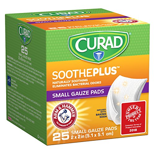 CURAD SoothePLUS Gauze Pads with ARM & Hammer Baking Soda, 2