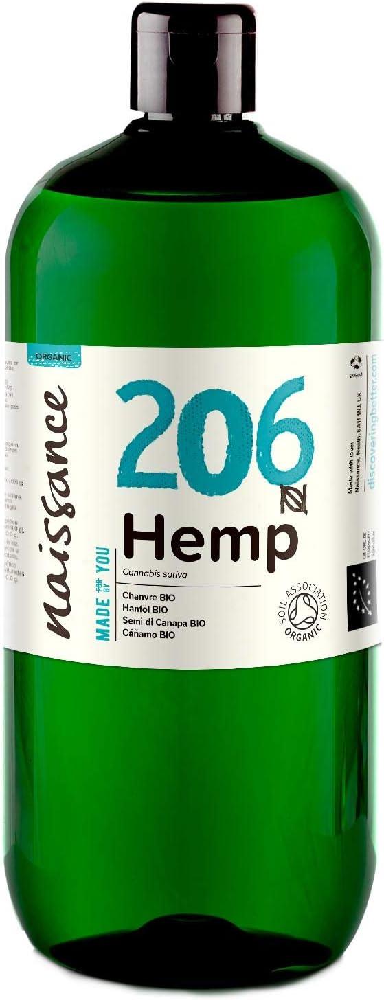 Naissance Aceite Vegetal de Semillas de Cáñamo BIO n. º 206 – 1 Litro - 100% puro, prensado en frío, virgen, certificado ecológico, vegano y no OGM