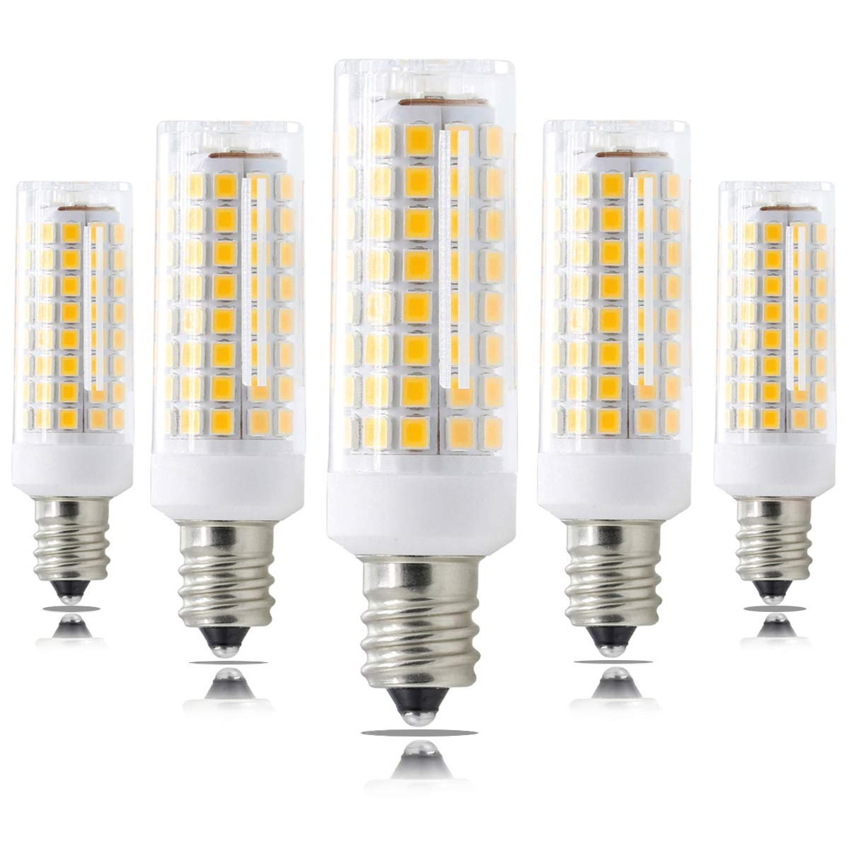 XRZT Dimmable E12 LED Bulb Candelabra Bulb, 7W(75W Halogen Bulbs Equivalent), T3/T4 Warm White 3000K Ceiling Fan Bulbs(5-Pack)