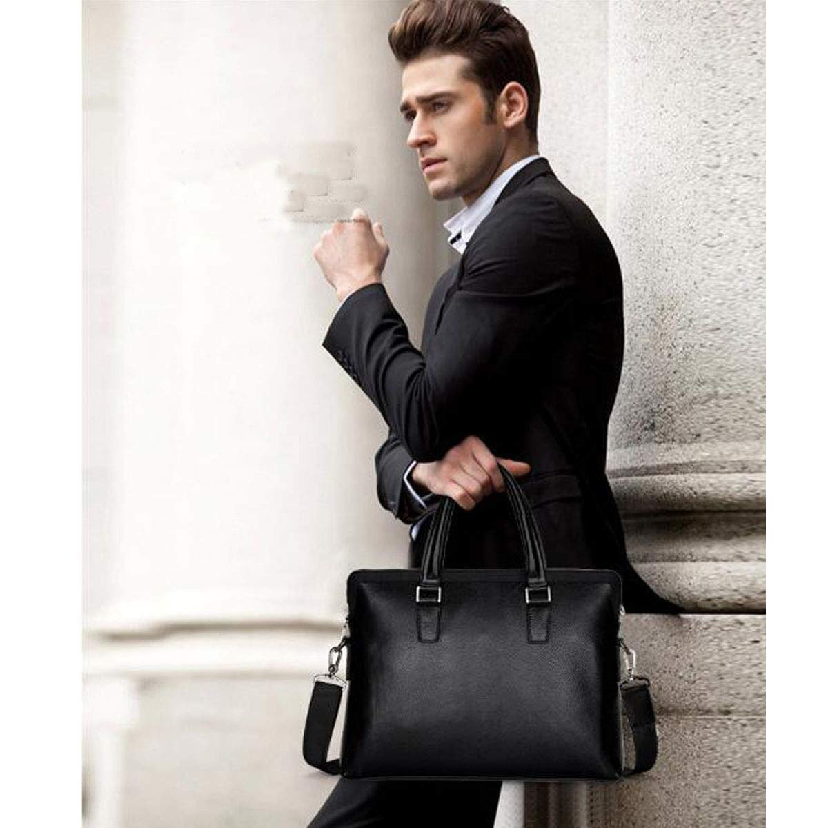 Color : Black Chenjinxiang Briefcase Best Selling Leather Mens Shoulder Diagonal Bag Size: 38630cm Concise Large Capacity Computer Bag Black Multi-Function Travel Bag