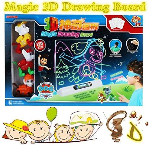 Dibujar con Luz Juguetes,Tablero De Dibujo Mágico 3D LED Tableta ...