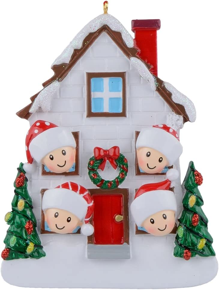 MAXORA Family of 4 Christmas House Personalization Ornament