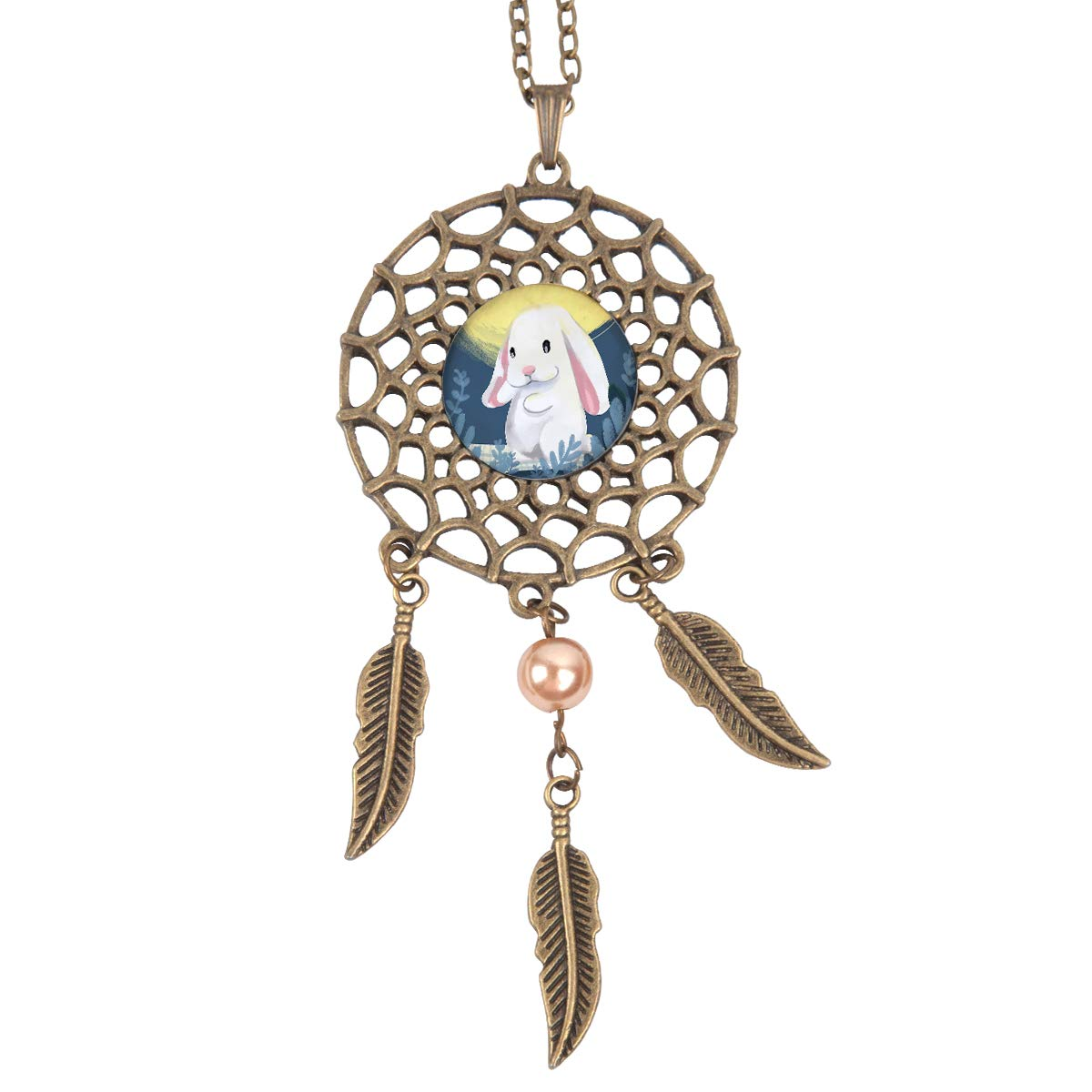 Queen Area Dream Catcher Necklace Moon and Rabbit Pendant Dangling Feather Tassel Bead Charm Chain Jewelry for Women