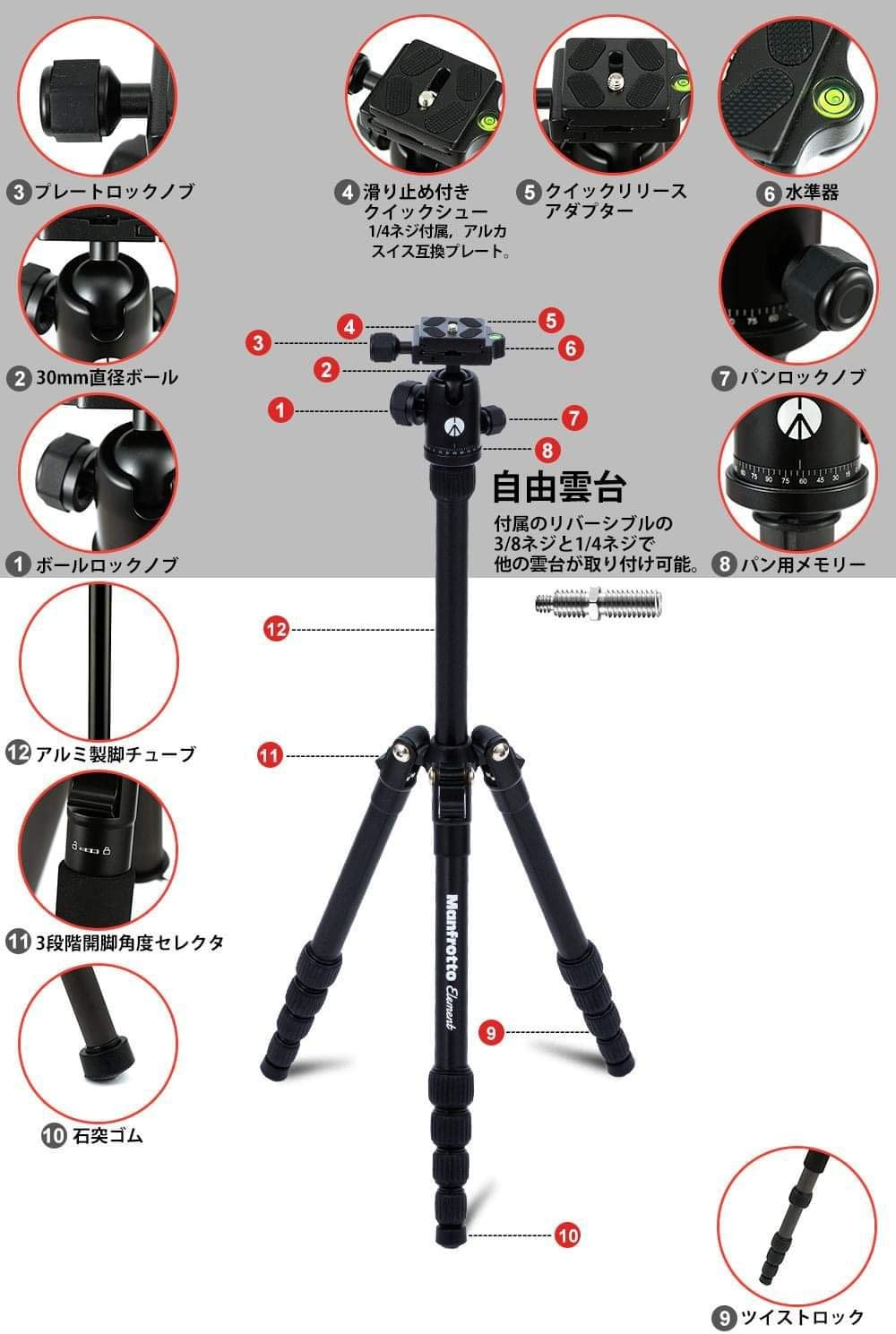 Manfrotto Element Small Traveller Tripod with Ball Head Black