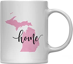 Andaz Press 11oz. US State Coffee Mug Gift, Pink Watercolor, Michigan Home, 1-Pack, Birthday Christmas Gift Ideas for Her Hostess Housewarming Distance Moving Away College Couple