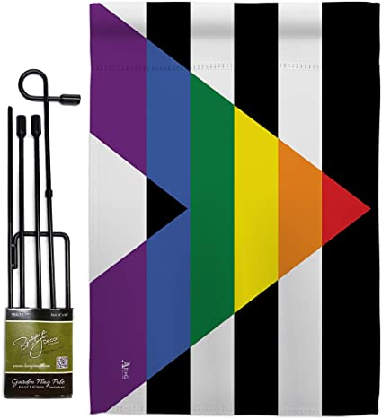 Pride Straight Allies For Equality Garden Flag Set With Stand Support Rainbow Love Lgbt Gay Bisexual Pansexual Transgender Small Decorative Gift Yard House Banner Made In Usa 13 X 18 5