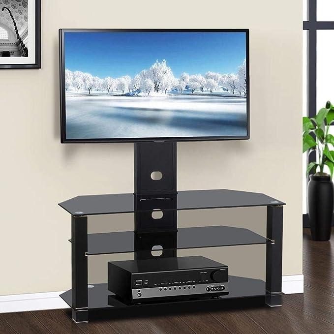 Leisure Zone Soporte de TV de Cristal con Soporte Giratorio para televisor LCD/LED de hasta 32 a 50 Pulgadas de Alto, Soporte de Montaje Ajustable para TV, 110x40x130 CM: Amazon.es: Hogar