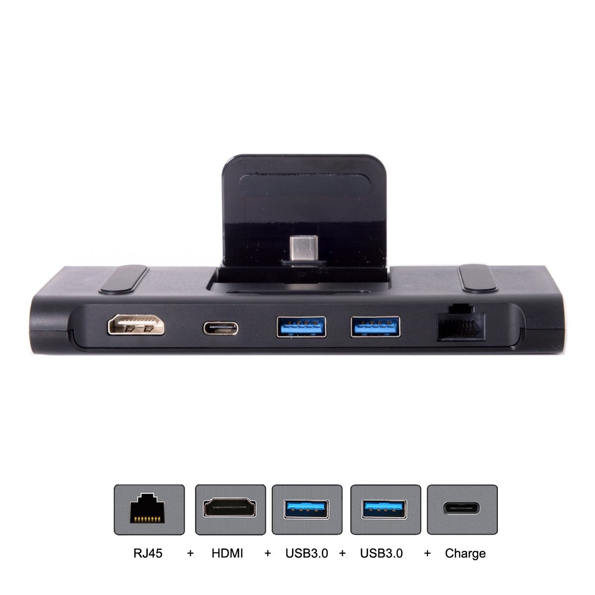 CY USB 3.1 Type-C USB-C Dock Station to HDMI & Two 3.0 Hub & Gigabit Ethernet & Power Multiple Digital AV Type-C for Samsung S8/S8+,Note8,S9 and Huanwei Mate10/Mate10 Pro/P20