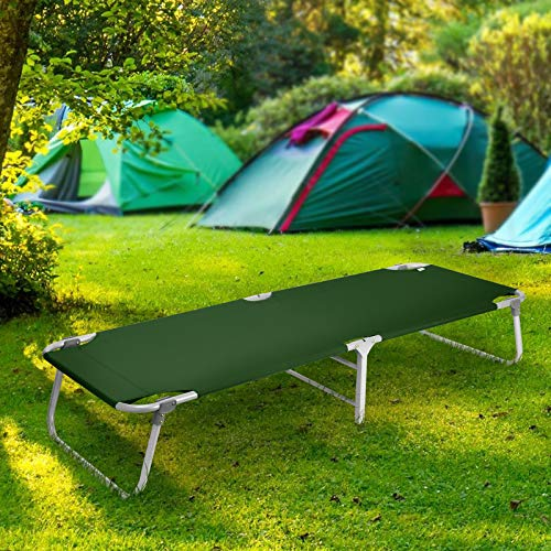 Magshion Portable Military Fold Up Camping Bed Cot with  Storage Bag, Green