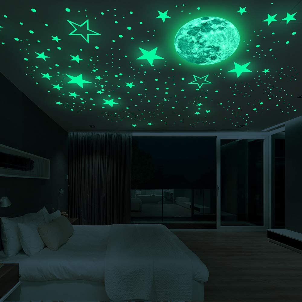 239 Pieces Glow in The Dark Stars Wall Decals, Luminous Stars and Moon Wall Stickers Decor for Ceiling Wall Decals, Perfect Perfect for Kids Nursery Bedroom Living Room