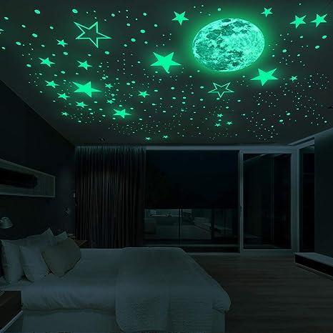 100Pcs Stars Moon Glow In The Dark Sticker Wall Decal Kid Baby Bedroom Luminous