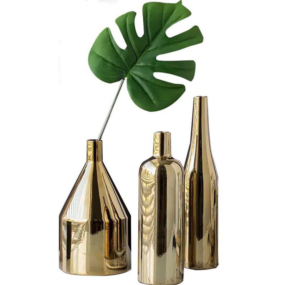 Decor Vases Set,Gold Metallic Vase, Set of 3
