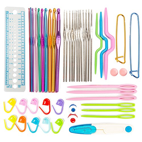 Enjoygous 49 PCS Crochet Hooks Set With Case, Aluminum Ergonomic Soft Handles for Arthritic Hands, Grip Handles, Eye Blunt Needles, Smooth Shaft Knitting Needles by Enjoygous