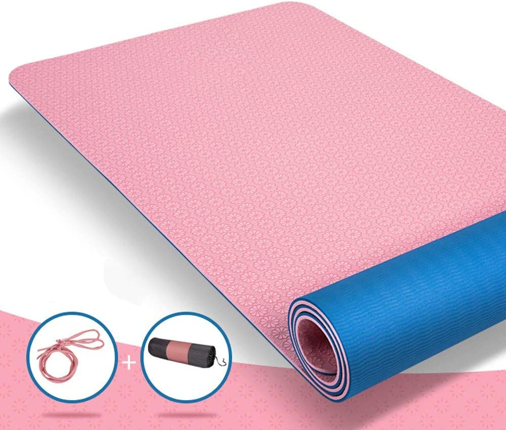 Rosa+Blau 8mm SCFANG Yogamatte inkl Trage d + Tasche,TPE Freundlichen Material Hypoallergen rutschfest Umweltfreundlich für Yoga, Pilates, Gymnastik, Fitness,SGS Zertifiziert - 183×68×0.6 0.8cm