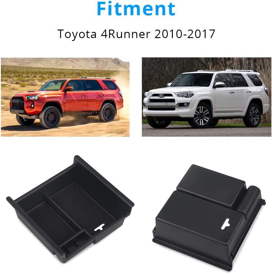 VANJING Center Console Organizer Insert Tray Compatible for 2010 2011 2012 2013 2014 2015 2016 2017 2018 2019 Toyota 4 Runner Accessories with USB Hole Center Armrest Storage Box with A Cleaner Brush