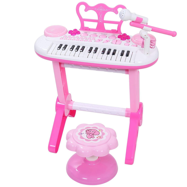 ANTAPRCIS Jouet Piano Clavier avec 24 Touches Instrument de Musique Électronique Éducationnel avec Microphone de Cadeau d'Anniversaire pour Bébé, Noir