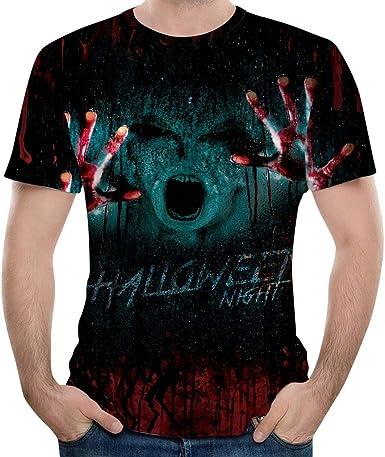 Subfamily Camiseta de Manga Corta Halloween Night con Estampado de Halloween para Hombre Halloween Horror 3D Imprimir O-Cuello de Manga Corta Camiseta Tops Blusas: Amazon.es: Ropa y accesorios