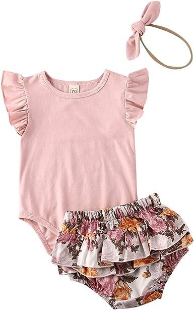 2Pcs Infant Baby Girl Short Sets Ruffle Short Sleeve Letter Pink Jumpsuit Romper Summer Floral Bowknot Shorts