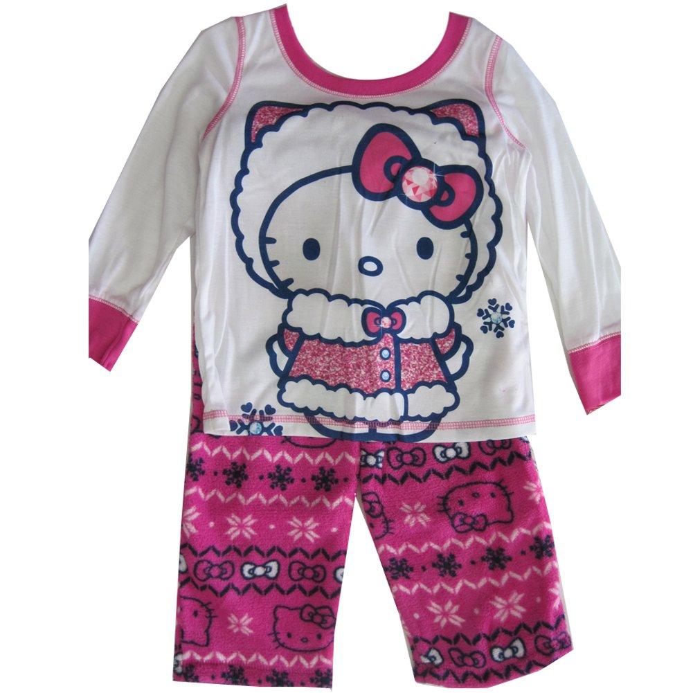 Hello Kitty Big Girls Fuchsia Kitty Folk Motif Print 2 Pc Pajama Set 8