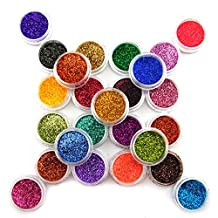 25 Color Metal Glitter Nail Art Dust Tool Kit Acrylic UV Powder Dust gem Polish Nail Tools Nail Art Decoration Nail Glitter