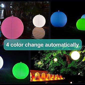 Luz LED para piscina,Inflable,Resistente al agua, IP68 Globo Solar,Lámpara de bola de Piscina al aire Libre,4 colores Cambiantes,luz nocturna LED,Decoración ...