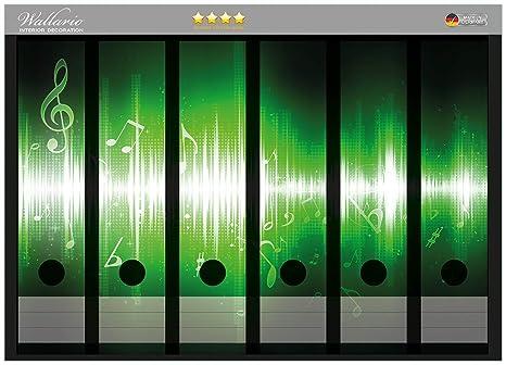 Archivador de la parte de la espalda adhesivo de notas verdes de la música en Calidad
