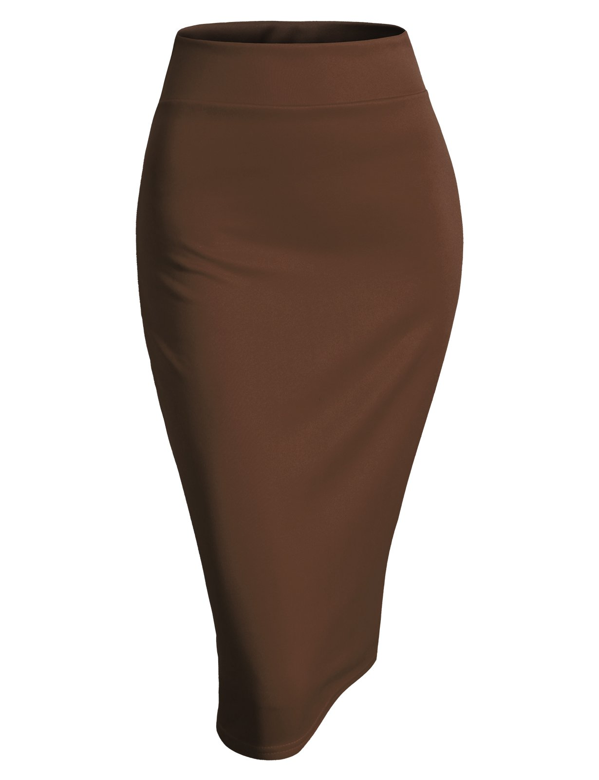 H2H Womens Basic Versatile Elastic Waist Band Office Pencil Skirt Chocolate 2XL (AWBMS0189)
