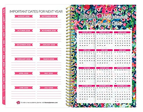 "2017-18 Academic Year Daily Planner - Passion/Goal Organizer - Monthly and Weekly Datebook and Calendar - August 2017 - July 2018 - 6"" x 8.25"" - Wildflowers Photo #7"