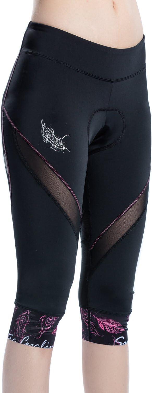 Santic Womens Cycling Shorts Padded 4D Pants Bike Capris Bicycle Tights Breathable