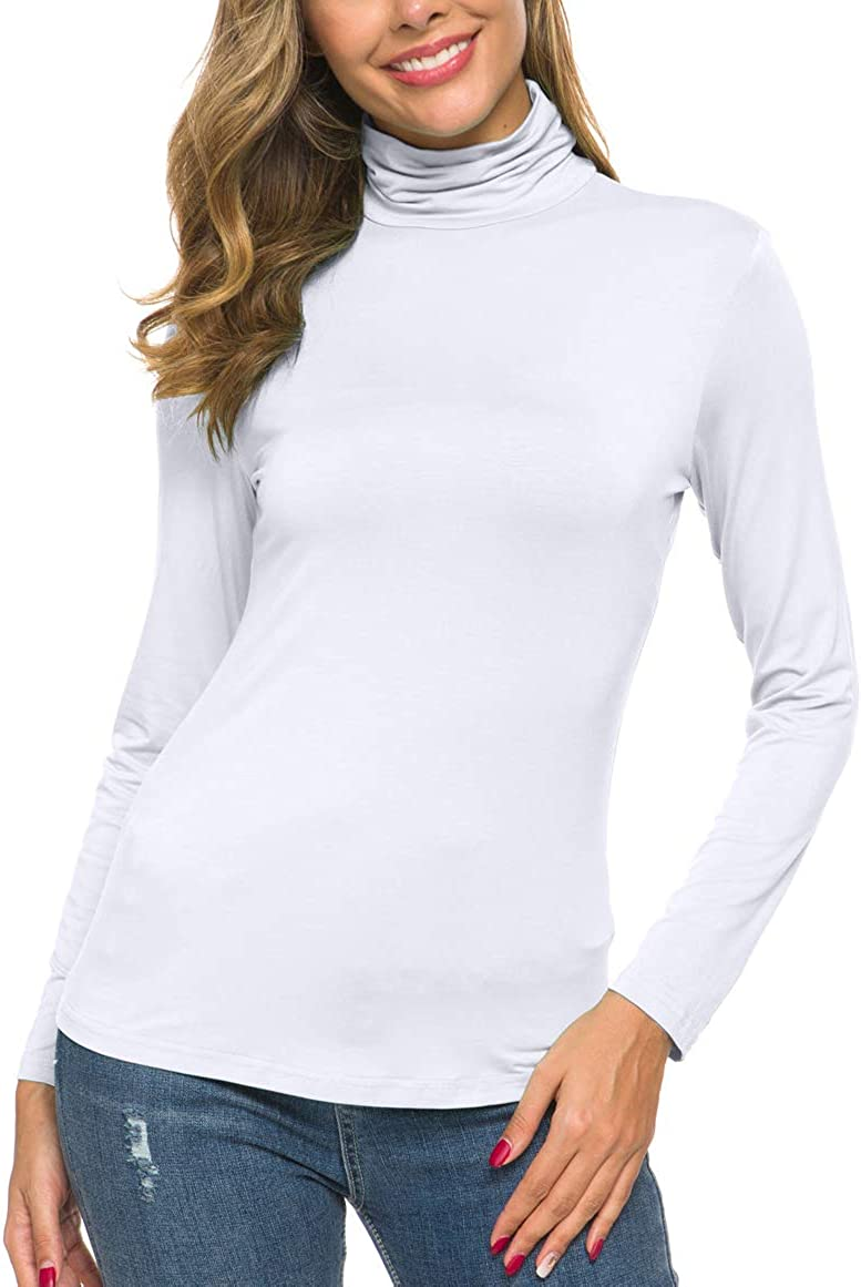 POPZONE Womens Soft Long Sleeve Slim Basic Turtleneck Lightweight Pullover Tops