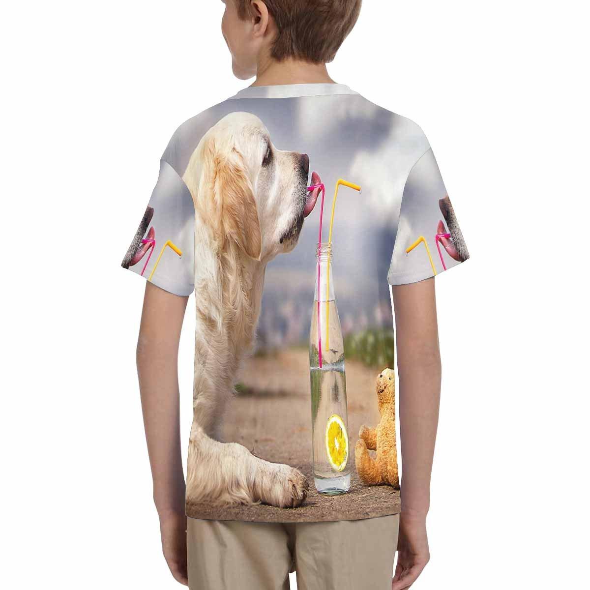 INTERESTPRINT Golden Retriever Dog Teddy Bear Unisex Kids T-Shirts XS-XL