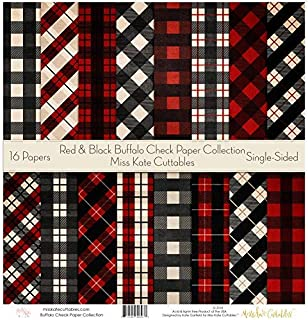 4 Sheets Small Check Buffalo Plaid Woodland Plaid 12x12 Scrapbook Paper
