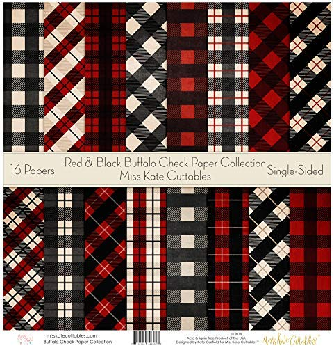 Pattern Paper Pack - Red & Black Buffalo Check - Christmas - Scrapbook Specialty Paper Single-Sided 12