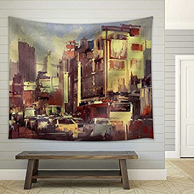 Dazzling Artistry, Painting of City Traffic Jam on The Street Fabric Wall, With Expert Quality