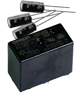 OMRON (G5Q-14-EU 12DC & EEU-EB1J221) Power Relay, SPDT, 12VDC, SPDT 12VDC ClassF High-Capacity, Sealed, 220µF, 65V, Capacitor