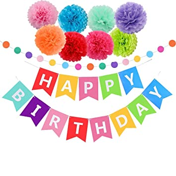 Happy Birthday Decorations Banner With Tissue Pom Poms For Rainbow Party Supplies