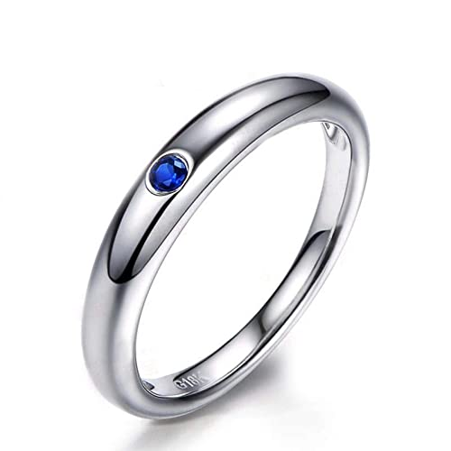 AnazoZ Anillos Mujer Plata de Ley 925 Finos Anillo Cristal Azul Anillo Zafiro Azul Anillos de