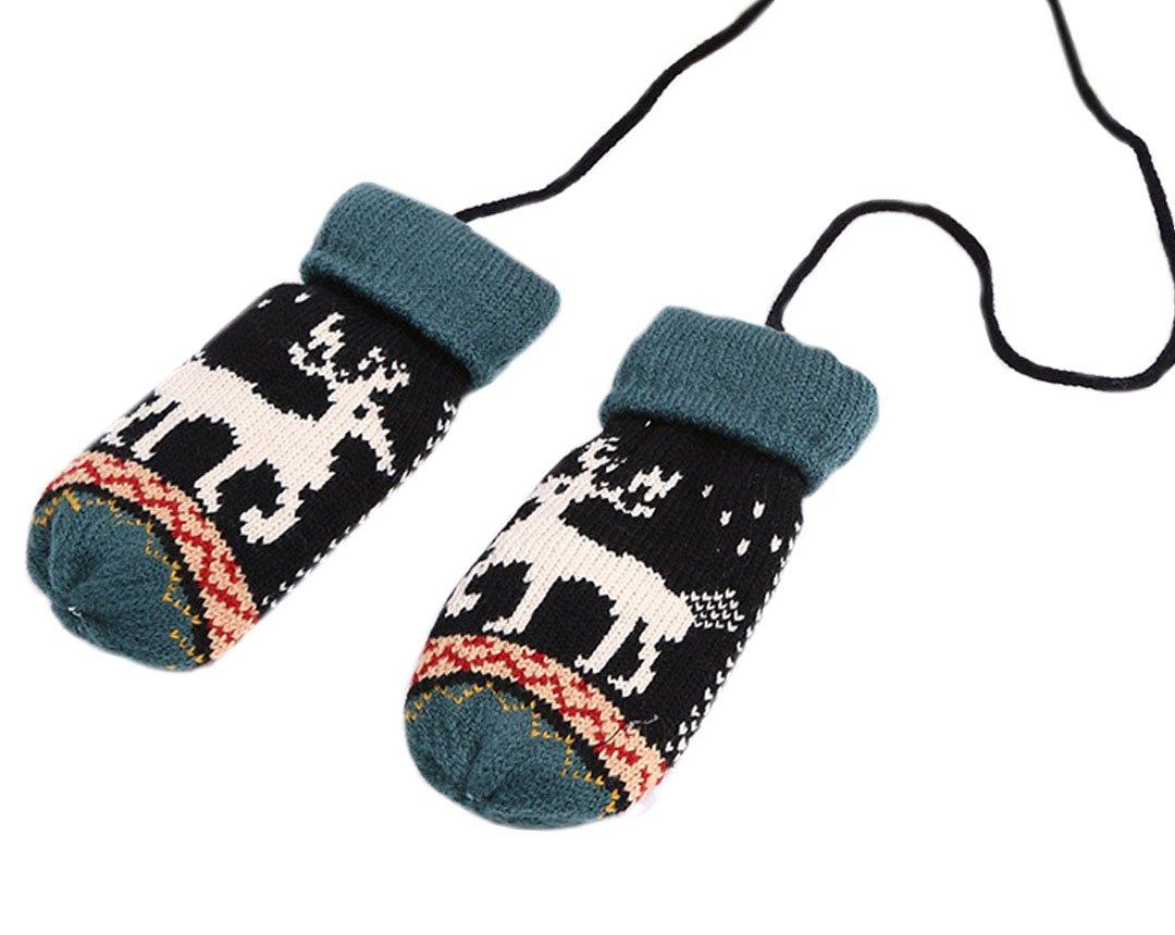 Ashdown Moufles d'hiver mignonnes en tricot Pour bébé Noir et marron