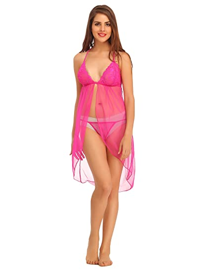 e1328aca3 Clovia Women s Mesh   Lace Babydoll with Matching Thong - Pink  (NS0680P22 Pink Large)