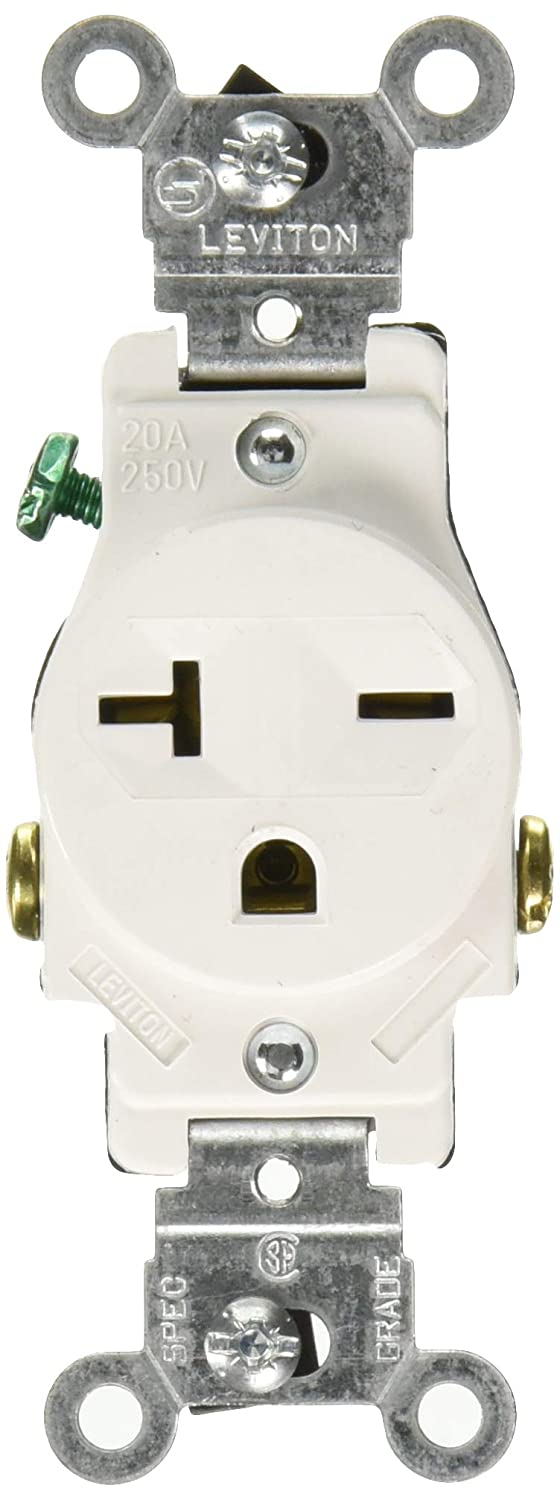 Leviton 107-5821-WSP S02-05821-0Ws Single Receptacle, 250 Vac, 20 A, 2 Pole, 3 Wire, Pack of 1, White