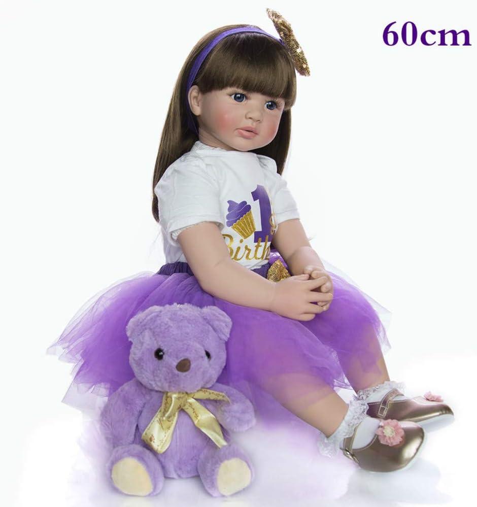 Dyujn Muñecas Reborn Bebé 24 Pulgadas 60 Cm Vinilo de Silicona Suave Pelo Largo Bebe Reborn Niña Realista Silicona Recién Nacido Reborn Toddler Baby Doll para Niños Mayores de 3 Años (1#)