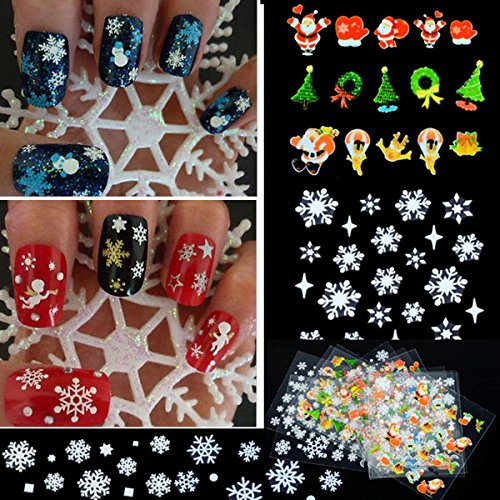 12 Sheet Christmas Snowflake Tree 3D Nail Art Sticker