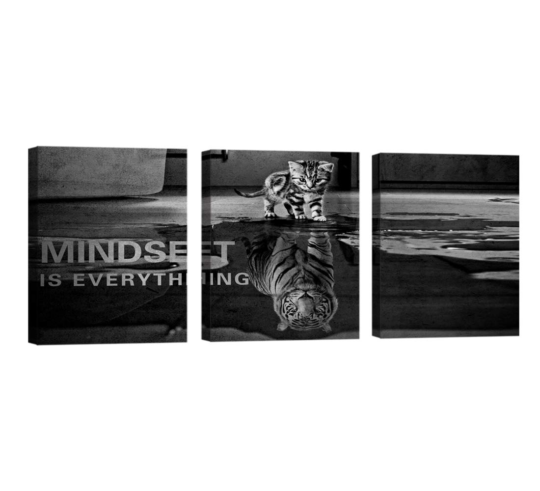 Large Size 3 Pieces Mindset Is Everything Inspiration Wall Art Motivation Wall Decor Wooden Framed Artwork Entrepreneur Quotes Picture Inspiration