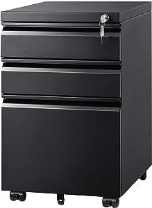 DEVAISE 3 Drawer Mobile File Cabinet Under Desk, Fully Assembled Except Casters, Letter/Legal Size, Black