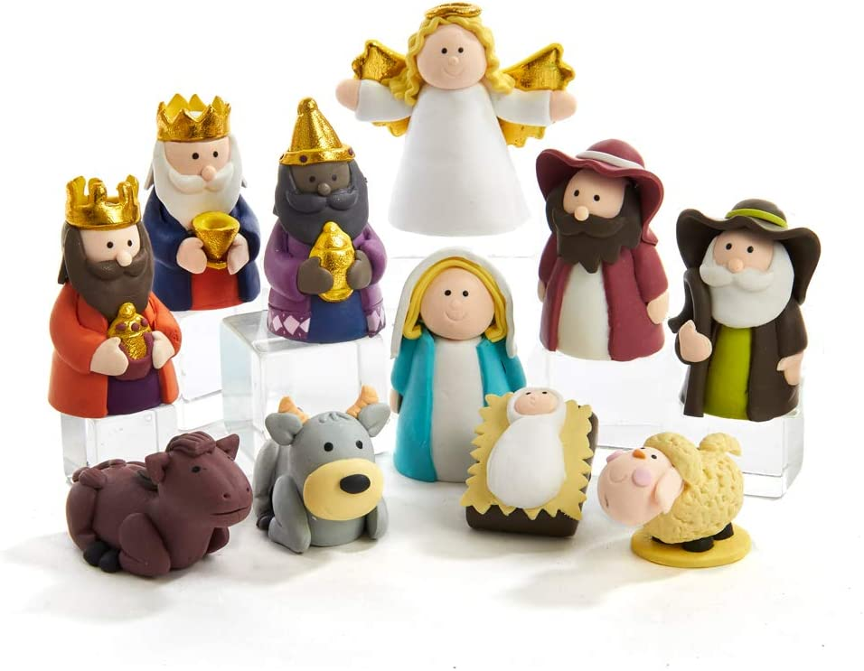 Kurt S. Adler 1-2.5-Inch Claydough, 11 Piece Nativity Set, Multi