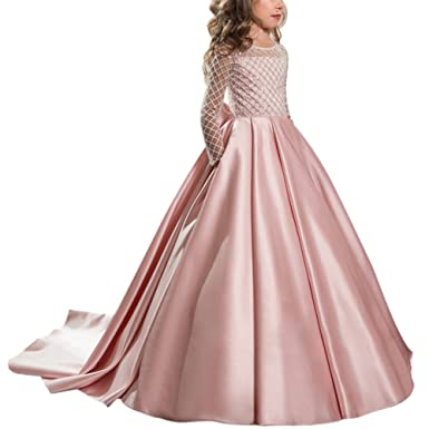 IBTOM CASTLE Flower Girls Vintage Lace Applique Princess Graduation Communion Tulle Dress Floor Long Pageant Prom