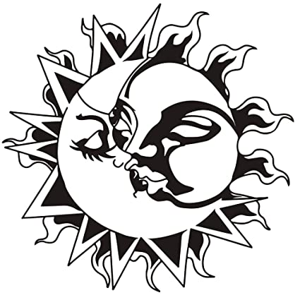Amazon Com Dnven 22 W X 22 H Tattoo Designs Sun And Moon Kiss