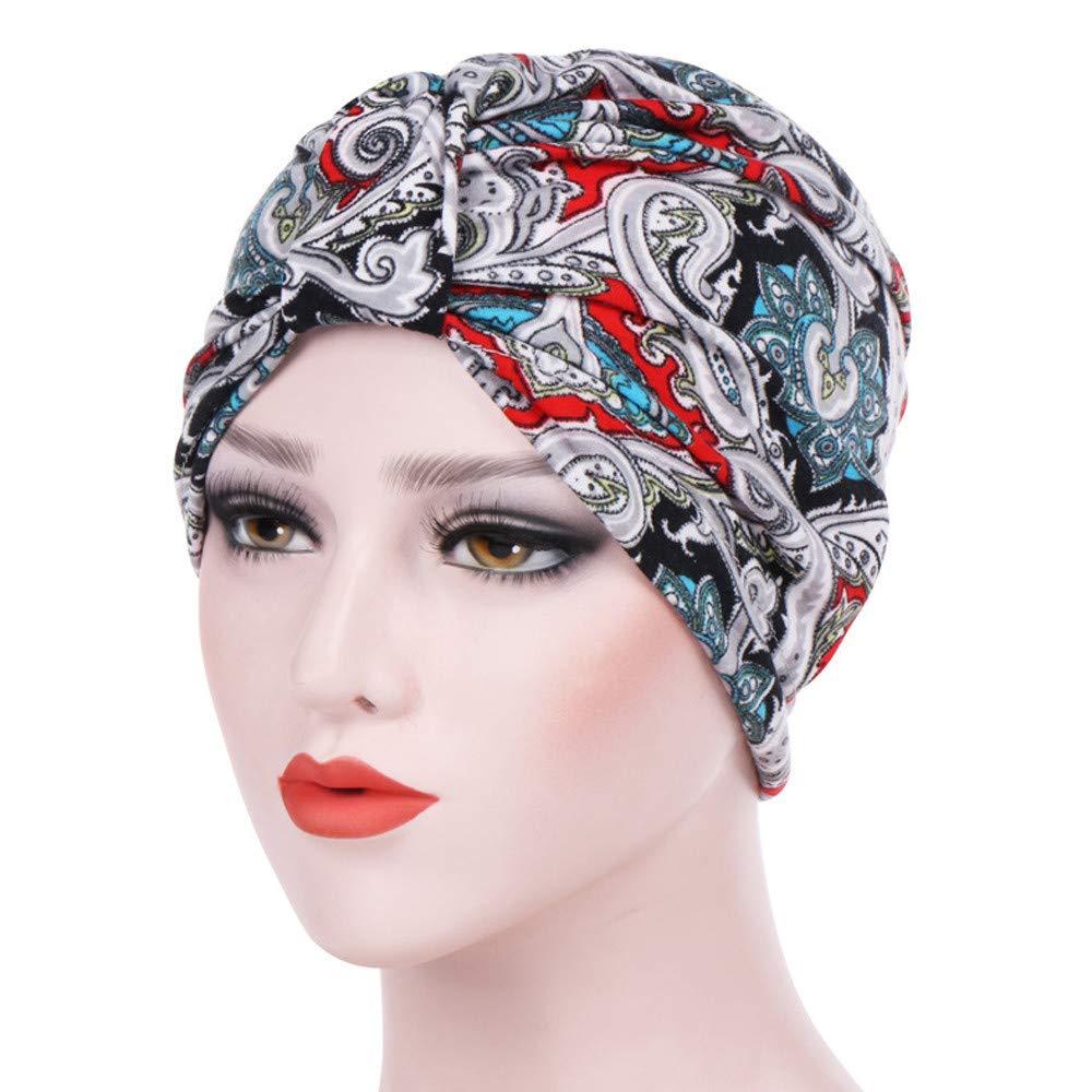 Women's Muslim Stretch Turban Hat Hair Loss Head Wrap Cap Chemo Cap Sleep Cap Fashion Slouchy Hats for Women