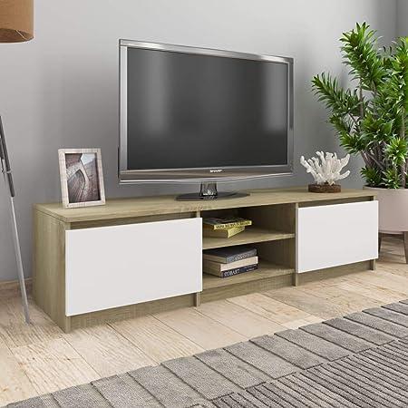 UnfadeMemory Mueble para TV Moderno,Mesa para TV,Mueble de hogar,con 2 Cajones y 2 Compartimentos Abiertos,Estilo Clásico,Madera Aglomerada (Blanco y Roble Sonoma, 140x40x35,5cm): Amazon.es: Hogar